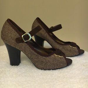 Shoes - Chocolate brown, tweed, peep toe heels